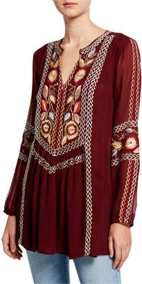 Tolani Lauren V-Neck Long-Sleeve Tunic with Floral Embroidery