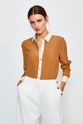 Karen Millen Premium Silk Colour Block Shirt
