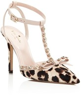 Kate Spade Lydia Leopard Print Calf Hair T Strap High Heel Pumps