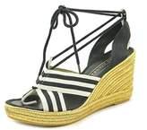Marc Jacobs Dani Espadrille Women Open Toe Canvas Multi Color Wedge Sandal.