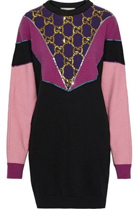 Gucci Oversized Sequin-embellished Color-block Wool Sweater