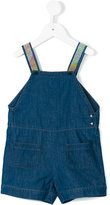 Knot embroidered straps denim overalls