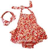 Happy Cherry Baby Girl Swim Photography Prop Jumpsuit Ruffled Romper Bloomer PP Pants 12-24M