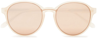 Linda Farrow Round-frame Rose Gold-tone And Acetate Mirrored Sunglasses