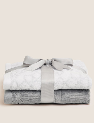 Marks and Spencer 2 Pack Cotton Mix Shimmer Towels