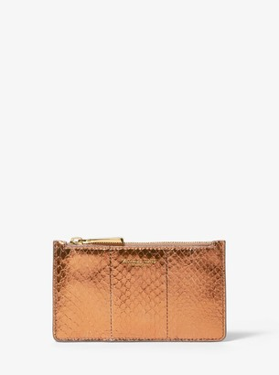 Michael Kors Small Metallic Snakeskin Card Case
