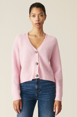 Ganni Classic Soft Wool Knit Cardigan in Sweet Lilac - wool | lilac | Sweet Lilac | medium - Lilac