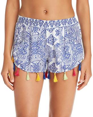 Surf.Gypsy Mykonos Print Tassel Detail Shorts Swim Cover-Up