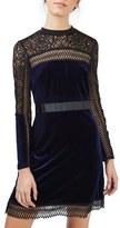 Topshop Women's Lace & Velvet Dress