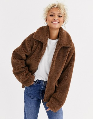 Blend She Teddy's zip thru faux fur jacket-Brown