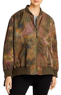 Yves Salomon Printed High/Low Bomber Jacket
