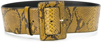 Prada Snakeskin-Effect Buckled Belt