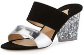 Paul Andrew Theodora Two-Band Sandal, Silver