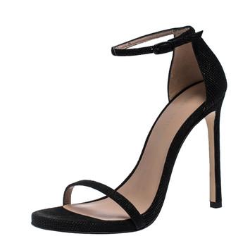 Stuart Weitzman Black Textured Suede Ankle Strap Open Toe Sandals Size 38