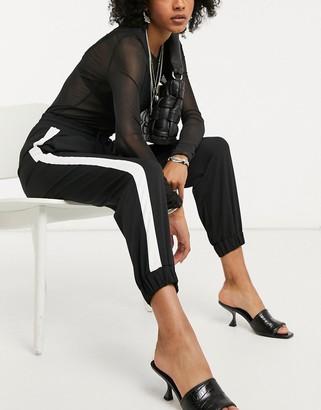 Topshop side stripe sweatpants in monochrome