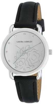 Laura Ashley Womens Silver Floral Mirror Dial Strap Watch