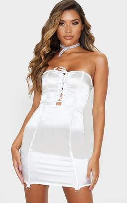 PrettyLittleThing White Satin Lace Up Detail Bandeau Bodycon Dress
