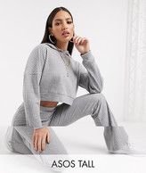 Asos Tall DESIGN Tall tracksuit supersoft rib hoodie / rib flare pants