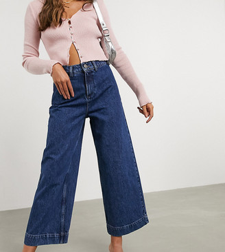 Asos DESIGN Petite High rise 'easy' wide leg jeans in mid wash blue
