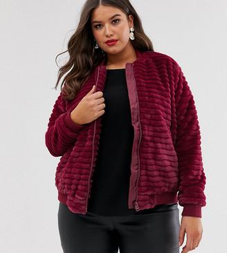 ELVI faux fur stripes bomber jacket