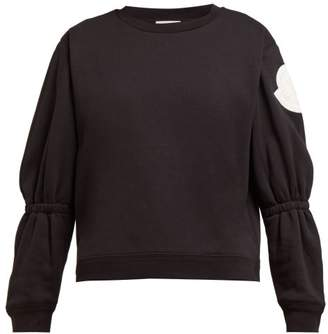Moncler Gathered-sleeve Cotton-blend Jersey Sweatshirt - Womens - Black