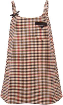 Prada Appliqued Checked Wool Mini Dress