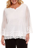 Alfred Dunner Lace It Up 3/4 Sleeve Split Crew Neck T-Shirt-Plus