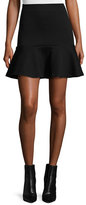 McQ Ponte Flounce Mini Skirt, Darkest Black