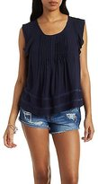 Charlotte Russe Pleated Lace-Inset Top