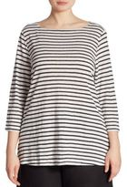Eileen Fisher, Plus Size Striped Organic Linen Tunic