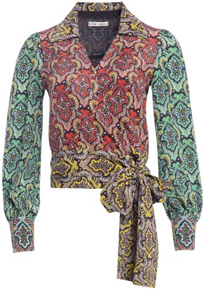 Alice + Olivia Omega Paisley Long Sleeve Wrap Top