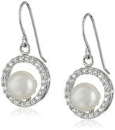 Bella Pearl Sterling Silver, Chinese Freshwater Cultured Pearl, and Cubic Zirconia Dangle Earrings
