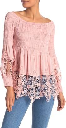 Forgotten Grace Off-the-Shoulder Lace Crochet Panel Top