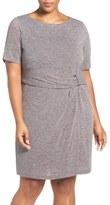 Ellen Tracy Buckle Detail Knit Sheath Dress (Plus Size)