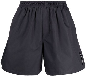 we11done Logo-Patch Cotton Shorts