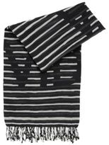 HUGO BOSS Striped slogan scarf in a cotton blend