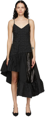 Marques Almeida Black Seersucker Spaghetti Strap Dress