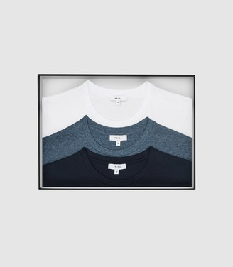Reiss Bless Three Pack Of Crew Neck T-Shirts Airforce Blue Melange/ White/ Black