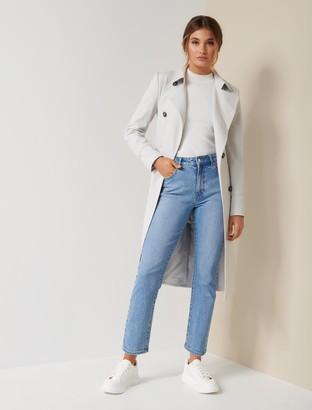 Forever New Tessa Mini Check Trench Coat - GREY / WHITE CHECK - 14