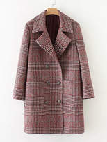 Shein Double Breasted Check Coat
