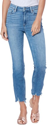 Paige Cindy High Waist Destroyed Hem Straight Leg Jeans