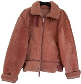 Armani Jeans Pink Shearling Leather Jacket for Women Vintage