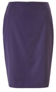 HUGO BOSS Regular Fit Skirt In Sharkskin Virgin Wool - Dark Purple