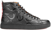 Vivienne Westwood Man High Top Embossed Squiggle Leather Trainers Black