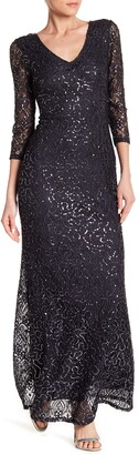 Marina Sequined Lace Gown