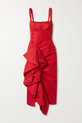 Rosie Assoulin Ruffled Cotton-blend Faille Midi Dress - Red