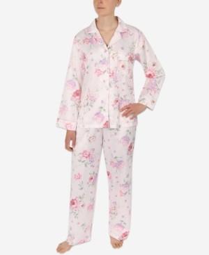 Miss Elaine Petite 2-Pc. Printed Notch-Collar Pajama Set