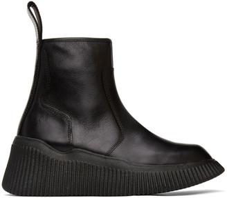 Julius Black Leather Zip-Up Boots