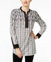 Calvin Klein Printed Zip-Front Tunic