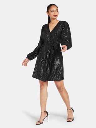 Milly Siena Mini Stripe Sequined Wrap Dress